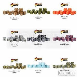 Bolt-Action-Order-Dice-WWII-Wargames-Warlord-Games-Black-Green-Commands-12-Pack