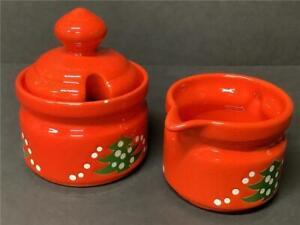 Waechtersbach Christmas Tree CREAMER & SUGAR BOWL SET Cream pitcher red green