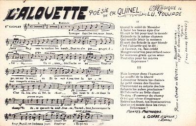 CPA PARTITION MUSICALE /& PAROLES MUSIQUE CHANSON l/'alouette quinel poujade
