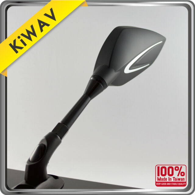 Black side Mirrors thunder flash for Motorcycle Chopper Cruiser Racer KiWAV