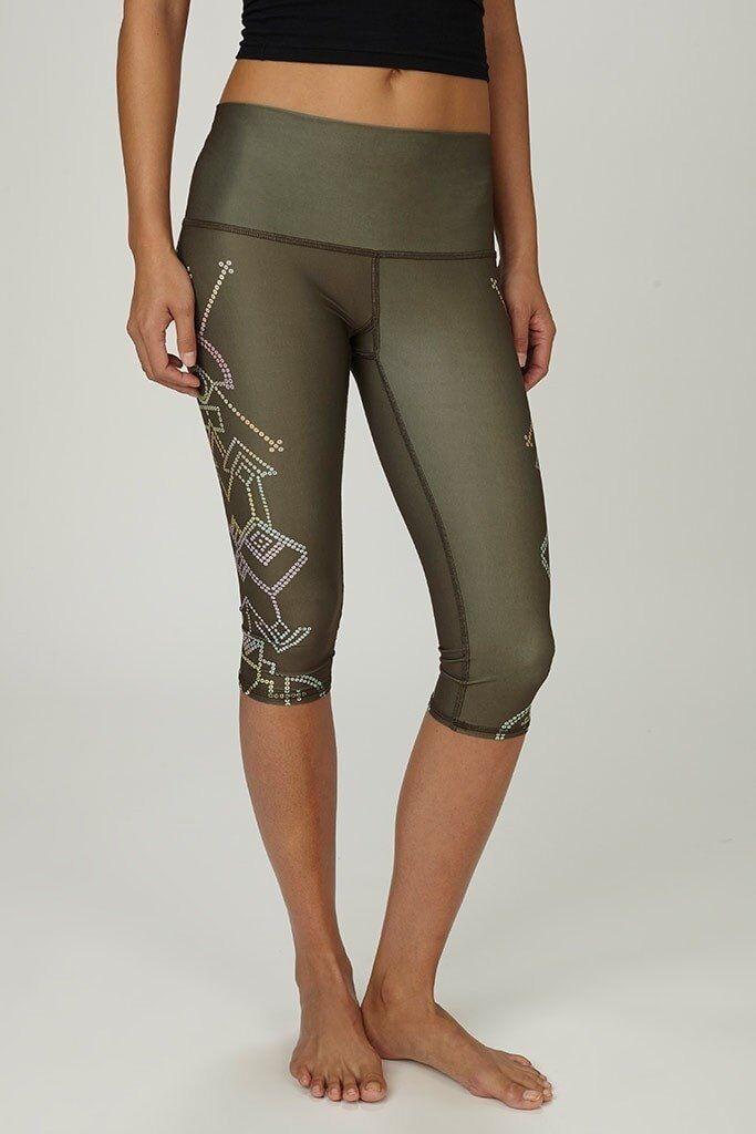 Teeki Yoga Pants Capri Seven Crowns Size X Small Pilates Fitness Gym Made In USA