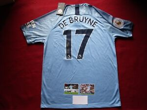 best cheap 9b7d1 481ee Details about MANCHESTER CITY KEVIN DE BRUYNE SIGNED 2018-19 HOME SHIRT  JERSEY- PHOTO PROOF