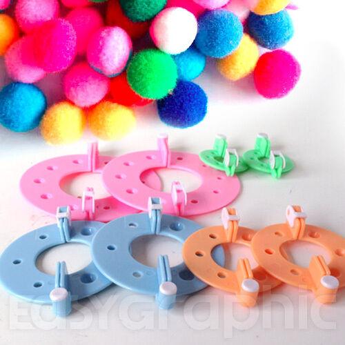 Pompom makers 8 pieces 4 sizes Pom Poms Knitting Crafts bobble maker kit