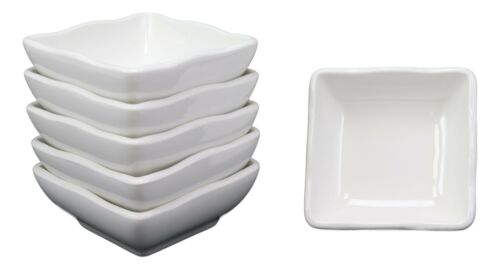 Wavy Design White Porcelain Condiments Soy Sauce Dipping Bowls Dishes Set Of 6