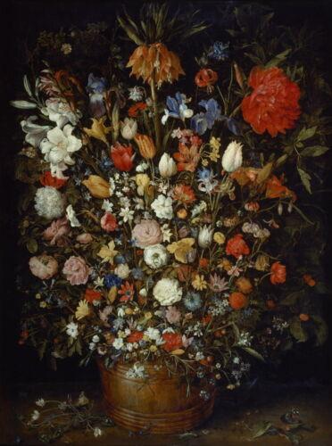 Jan Brueghel the Elder Flowers in a Wooden Vessel Giclee Canvas Print  Poster