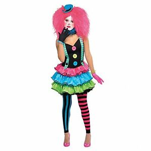 Girls-Teen-Cool-Clown-Costume-Circus-Fancy-Dress-Party-Halloween-Jester-Monster