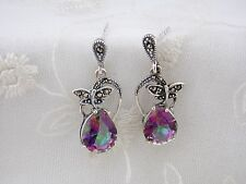 925 Sterling Silver Earrings Dragonfly With Marcasite And Cubic Zirconia NEW