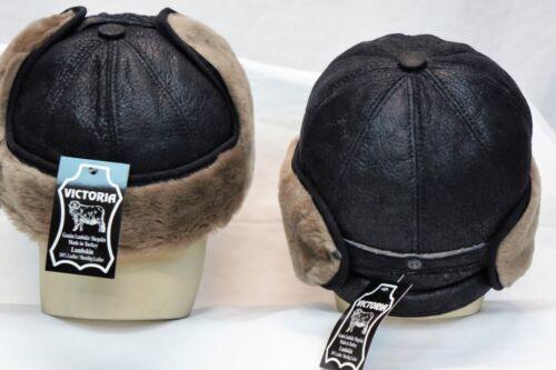 BLACK BEIGE 100/% Sheepskin Shearling Leather Aviator Trapper Hunting Hat M-3XL