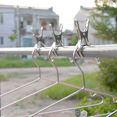6 Pc Hanging Clips Pins Laundry Clothes Pegs Stainless Steel Windproof Clamp UK