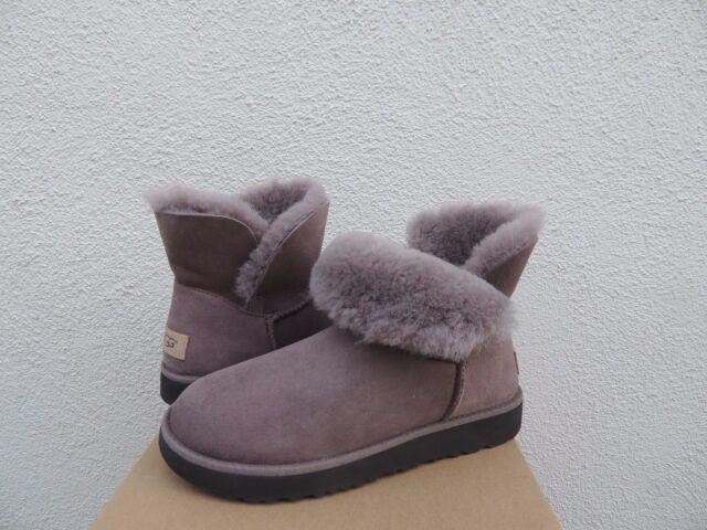 ugg stormy grey classic mini sheepskin cuff boots us 5 eur 36 ebay rh ebay com