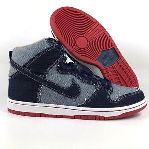 39000a175bda Nike SB Dunk High TRD QS Reese Forbes Dark Blue Denim Red 881758-441 ...