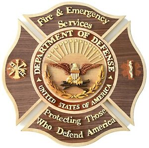 Dod Fire Emergency Services Emblem Handcrafted Wood Art Military