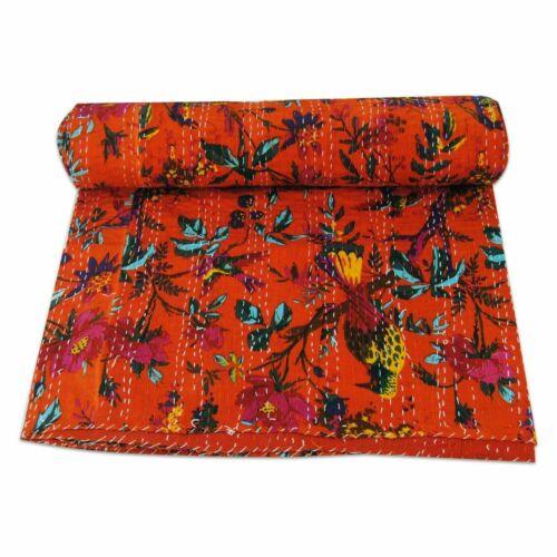 Vintage Handmade Kantha Quilt Orange bird Indian Cotton Twin Size Gudari Quilt