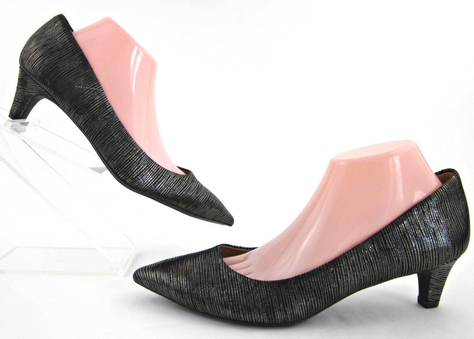 NEW  Sofft 'Altessa' Point Toe Kitten Heel Pumps Silver Black Metallic US 10M