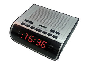 bush cr395 red display silver alarm clock radio am fm b75. Black Bedroom Furniture Sets. Home Design Ideas