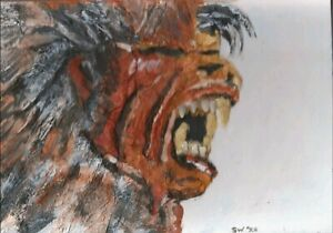 American-Werewolf-in-London-acrylic-painting-Original-Relief-3D-pic-clay-teeth