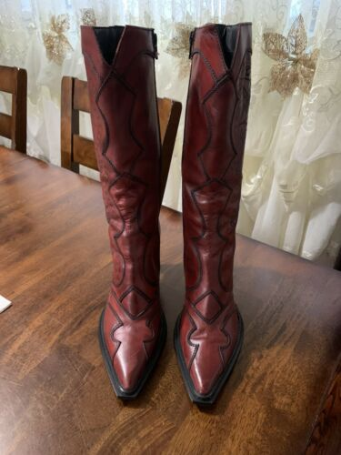 Cowboy Winter Boots Red Leather Size 8.5