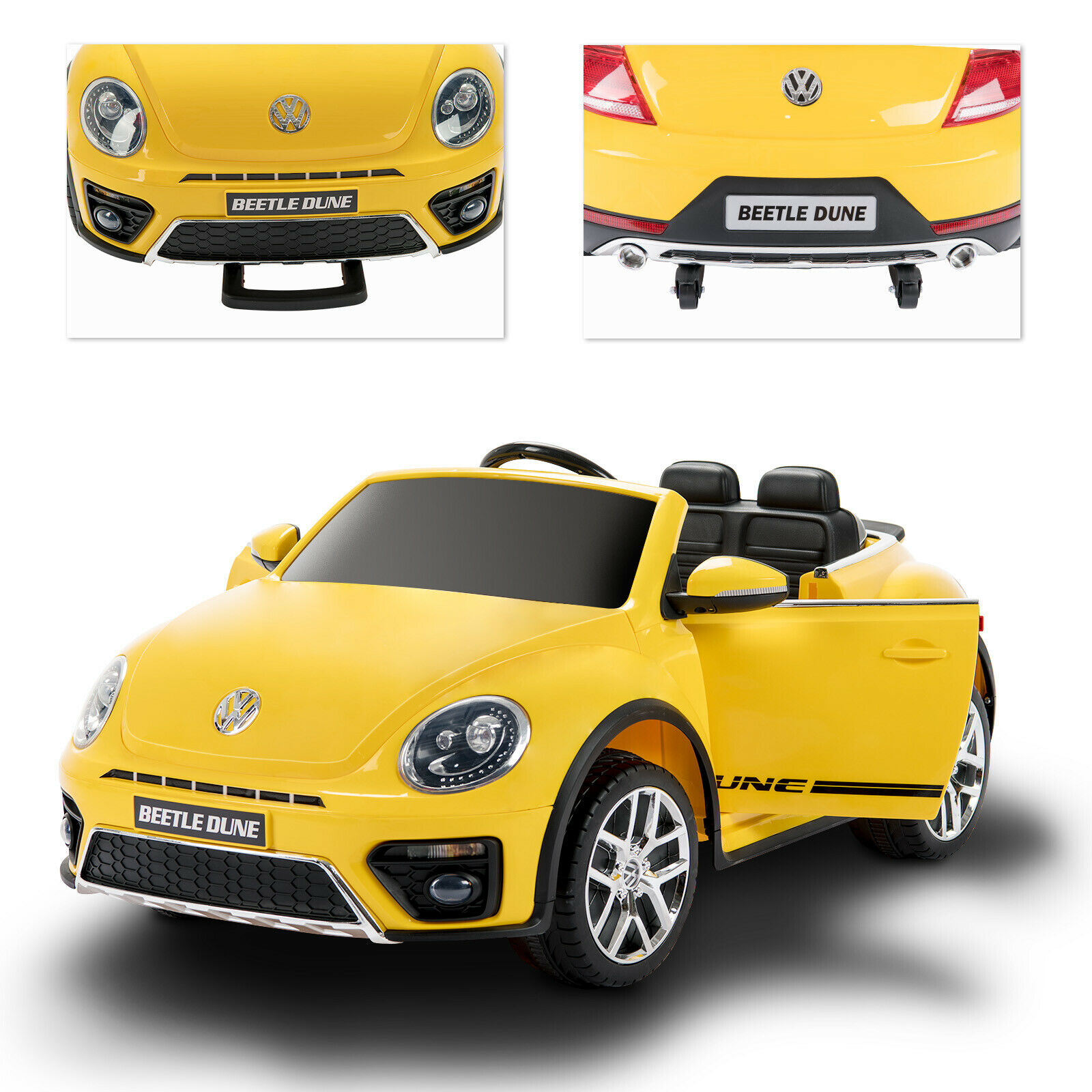 Yellow 12V Kids Ride on Cars Beetle Electric Double-Drive w Remote Control MP3