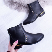 27eeb13e22c9 item 3 Womens Flat Ankle Boots Black Studded Zip Up Smart Buckle Gold  Ladies Shoe Size -Womens Flat Ankle Boots Black Studded Zip Up Smart Buckle  Gold ...