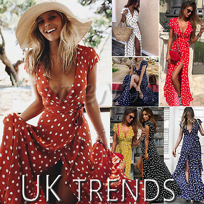 Aus Dem Ausland Importiert Uk Womens Holiday Polka Dots Slit Ladies Maxi Long Summer Print Beach Dress 6-14