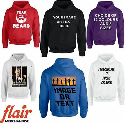 ADD YOUR DESIGN TEXT IMAGE KIDS /& ADULTS TOP CUSTOMISED CUSTOM PRINTED HOODIE