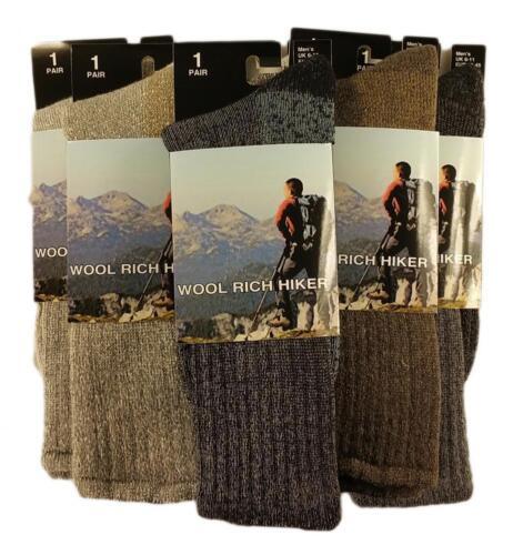 3 Pairs Of Men/'s Wool Hike Trekking Socks 6-11 Thick Chunky Walking Boot Socks