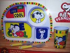 Licensed Peanuts SNOOPY JOE COOL 4-PIECE KIDS MEAL SET Plate Cup Fork Spoon NEW!
