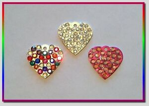 Bubble Heart Crystal Rhinestone Pet ID Tag - Free Engraving!