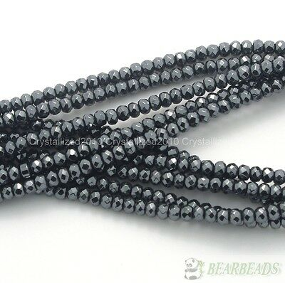 Natural Jet Hematite Black Gemstone Rondelle Spacer Beads 16'' 4mm 6mm 8mm 10mm