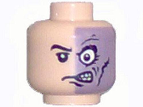 Two Face Minifig Head Half Normal Half Purple w// Scar Pattern LEGO BATMAN