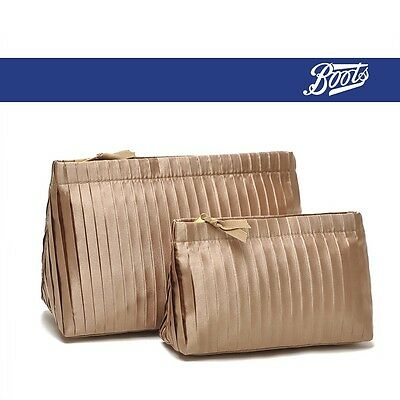 BOOTS Gold Make Up Cosmetics Bag Shaving Case Travel Toiletry Kit Bag Set of 2