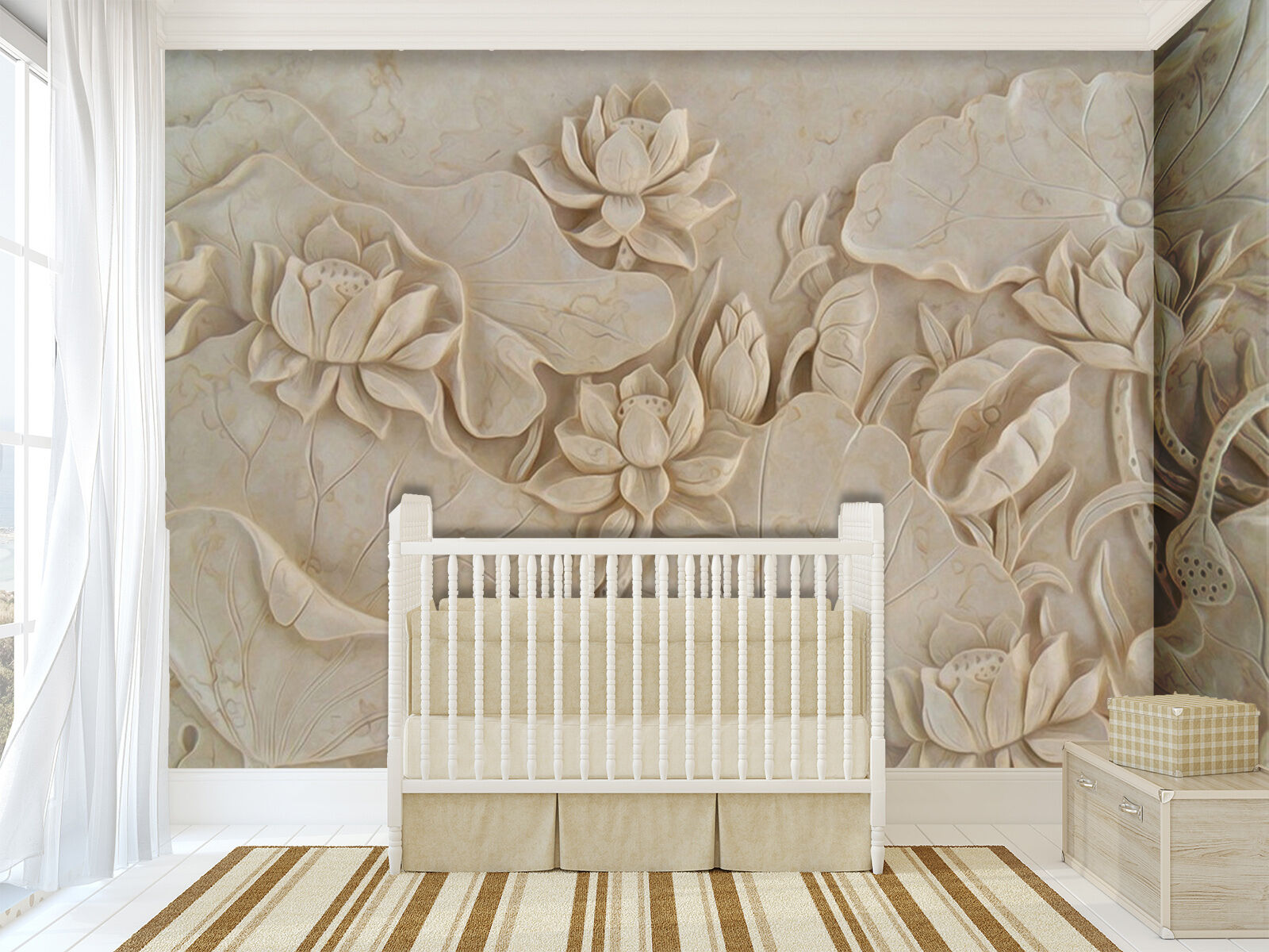 3D Lotus leaf Relief Wall Paper wall Print Decal Wall Deco Indoor wall Mural