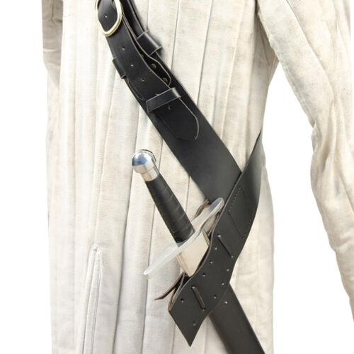Queens Guard Medieval Leather Sword Baldric Belt Black