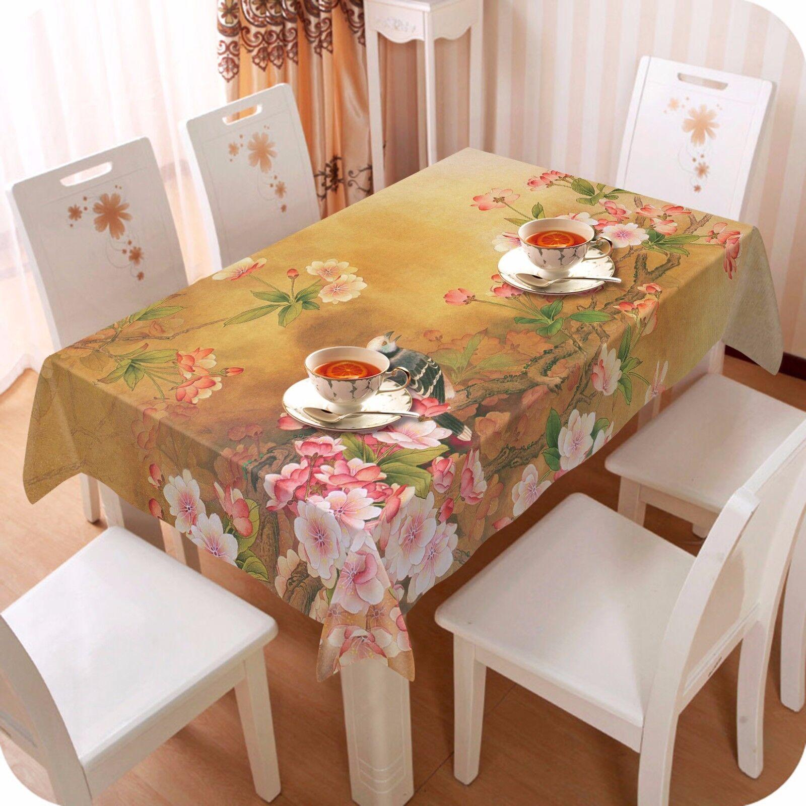 3D Fleur Oiseau Nappe Table Cover Cloth fête d'anniversaire AJ papier peint Royaume-Uni Citron