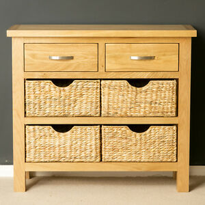 Image Is Loading London Oak Console Table With Baskets Hallway Storage