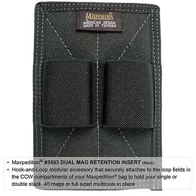Maxpedition 3503B Black Dual Magazine 2 Loop Retention Insert Pack Attachment