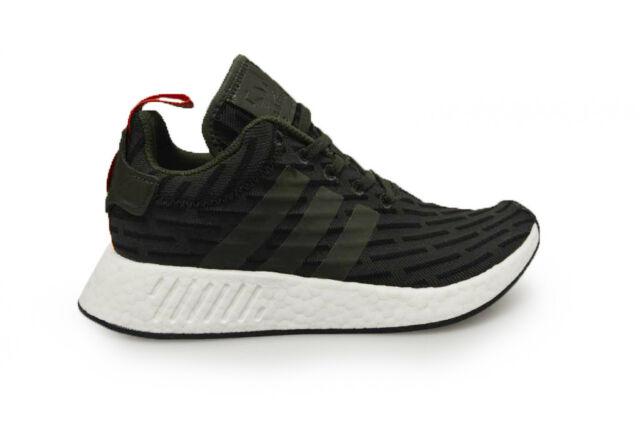 Hommes Adidas Nmd_R2 BY2500 Vert Blanc Baskets Rouge