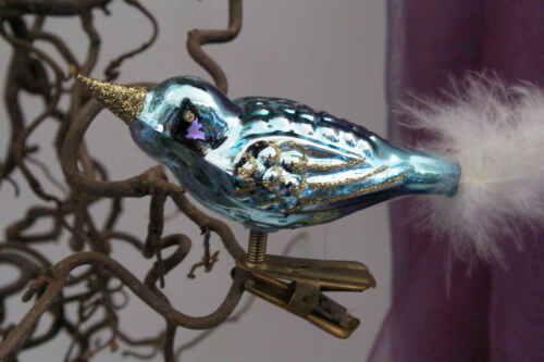 Weihnachtsvogel Weihnachtschmuck Vogel hellblau//gold Glas Handarbeit