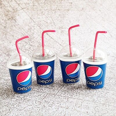 2 Cup of Pepsi Coca Cola with Ice Dollhouse Miniatures Food Soft Drink Beverages