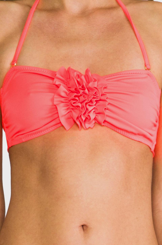 NWT EBERJEY solid M Swimsuit bandeau top neon strapless Dahlia bikini separates