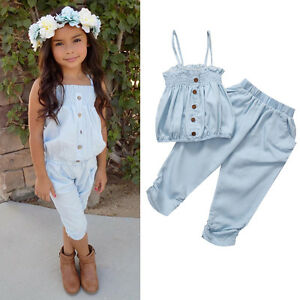 shopping pretty cool discount Details about Kid Toddler Girls Sunsuit Bodysuit Top T shirt Pants Shorts  Outfit Set Clothes C