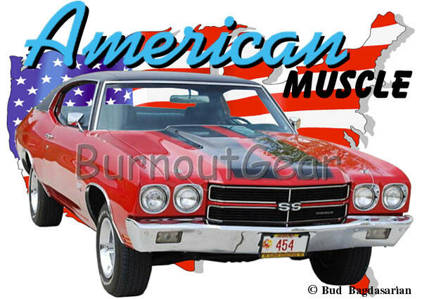 1970 ROT Chevy Chevelle SS f Custom Hot Rod USA T-Shirt 70 Muscle Car Tees