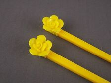 "Yellow flower rose plastic set of 2 hair chop sticks picks pins 7.5"" long"