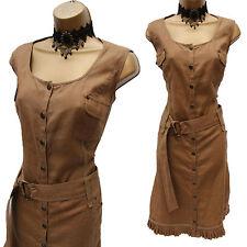 Designer LUIS CIVIT Khaki BROWN Linen Safari Summer Casual Shirt Dress UK 16-18