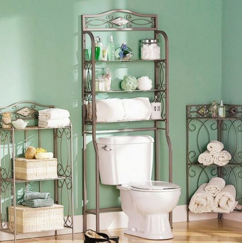 Over The Toilet Bathroom Space Saver Organizer Storage Towel Rack Decor Stylish