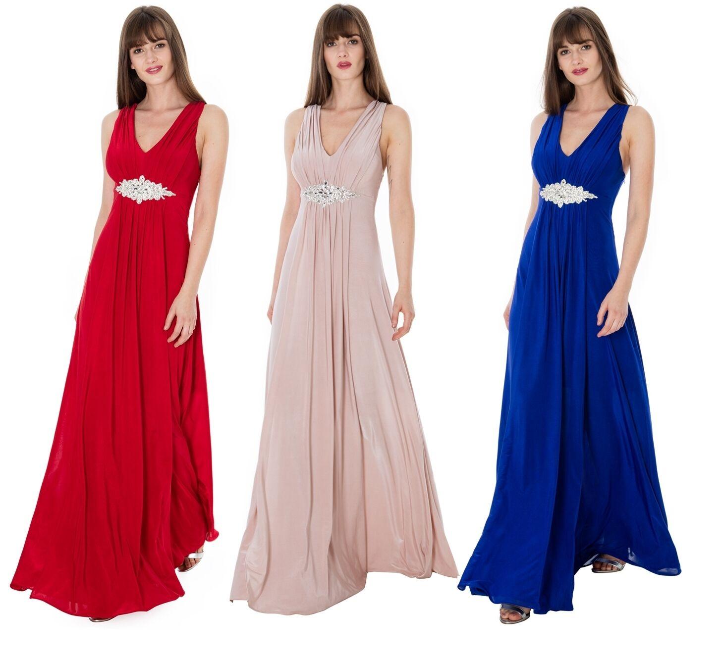 2f290baa3b8 Jewelled Waist Long Full Length Maxi Evening Party Gown RRP Dress Goddiva  nyqhqu4729-Bridesmaid Dresses