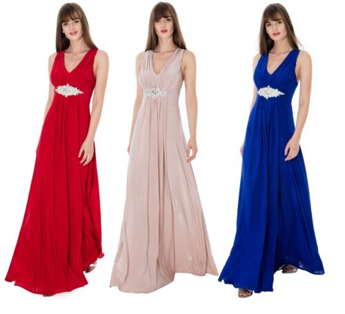 Goddiva Jewelled Waist Long Full Length Maxi Evening Party Dress Gown RRP £70