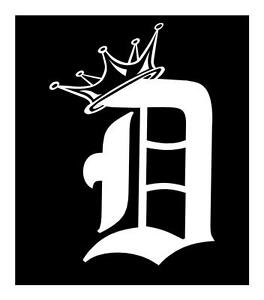 DETROIT D WITH CROWN X VINYL LAPTOP IPAD CAR TRUCK WINDOW DECAL - Truck window decals