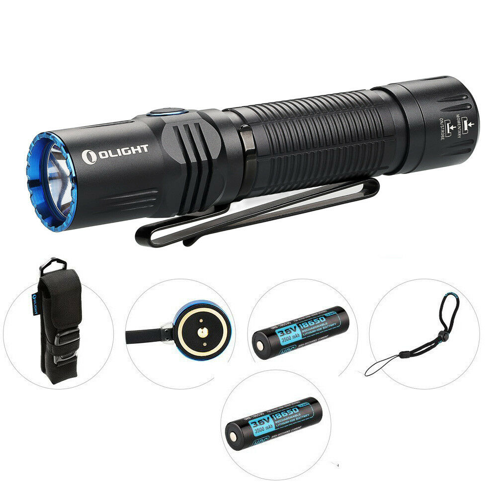 2 batteries  Olight M2R Warrior 1500Lm Rechargeable LED Flashlight (Cool White)