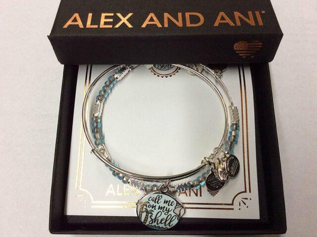 73b1d445d79af Alex and Ani Call Me On My Shell Set of 2 Bangle Bracelet Shiny Silver NWTBC